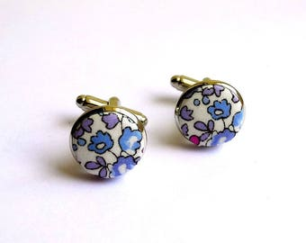liberty fabric cufflinks Eloise Lavender hand-made in France