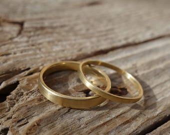 Alliance gold 18 K wedding band brushed gold, Golden satin wedding ring, wedding ring, wedding band, simple wedding ring, ring yellow gold