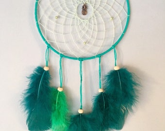 "Dream catcher / Dream catcher / Dreamcatcher ""tropical"" with green feathers"