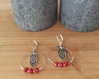 Fine hoop earrings silver, red glass beads