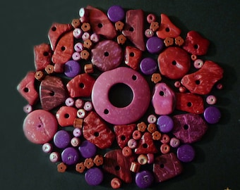 87 wooden beads, coconut and pink, red, purple ceramic