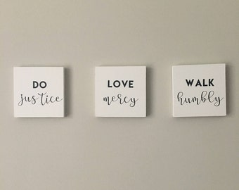 Micah 6:8 Do Justice, Love Mercy, Walk Humbly Mini Wooden Sign set of 3