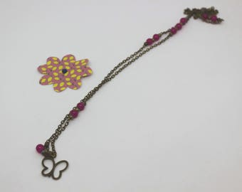 Tart collection: butterfly, pink beads, bronze chain charm - long earrings available