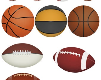Sports Clip Art Vector Art Graphics for Crafts! Baseball, Football, Basketball, Hockey! Print Stickers