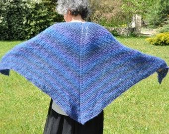 Acrylic, wool, mohair hand knitted shawl