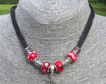 Black Organza Ribbon Necklace, Red, Lampwork, Beads, Silver, Charm