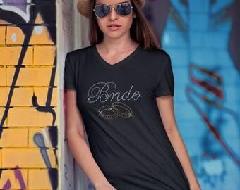 Bride Rhinestone Ladies V-neck T-Shirt..!