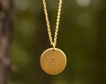 Gold Circle Initial Necklace with 1 Hole