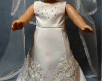 American Girl Doll Wedding Dress, Petticoat, and Veil