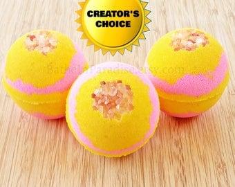 Pink Grapefruit Bath Bomb Fizzy NEW! | Large 2.6 Inch | Fruity Bath Bomb | Fresh Crisp Scent