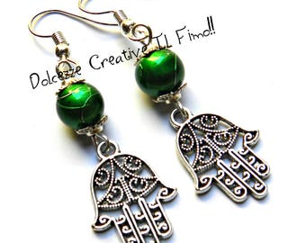 Hand of Fatima earrings with green beads - handmade