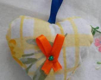Lavender heart in yellow and white fabric