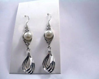 """Earrings """"Silver braid with freshwater pearl Galaxy"""""""