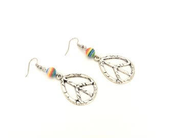 Earrings, drop, peace and love, beads, striped, colored, multicolored, yellow, red, blue, green