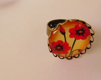 """Bronze ring """"poppy"""" color 20 mm cabochon"""