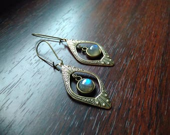 labradorite pendant and earrings Art deco