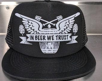 In Beer We Trust trucker snapback hat