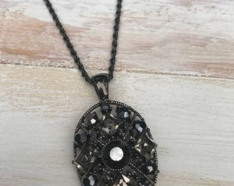 Handmade Short Black Jeweled Necklace