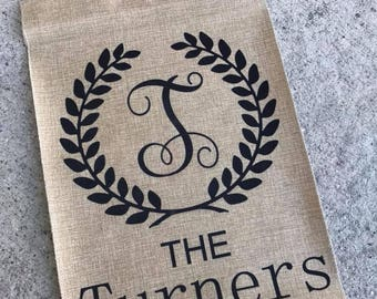 Garden Flag Burlap Personalized Flag Front Door,Family name,Team Flag,New Home gift,Front lawn flag,Custom Name,Pretty Burlap,Gardening gift