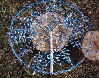 tree of life handmade blue and silver hands