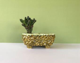 Vintage Green Planter, Geometric Planter, Ceramic Planter, Green Planter, Mid Century Planter, Succulent Planter, Cactus Planter, Flower Pot