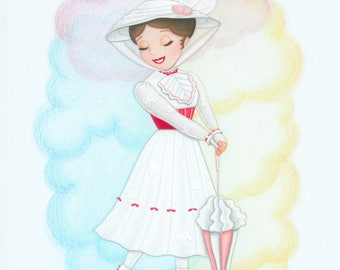 Mary Poppins Jolly Holiday Colored Pencil Fan Art Print