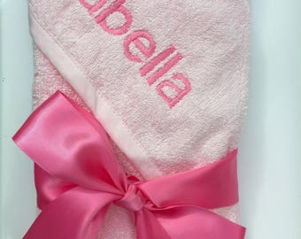 Personalised baby hooded towel.Available in 3 colours.