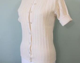 SALE // 1970s cream open knit cardigan | vintage 70s cardigan sweater