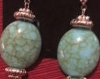 Turquoise (arcylic) Drop Earrings--large ovals