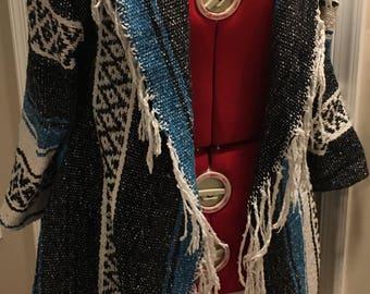 Drapey Upcycled Cardigan Sweater- Blue/Black/White