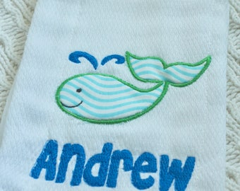 Whale Baby Burp Cloth