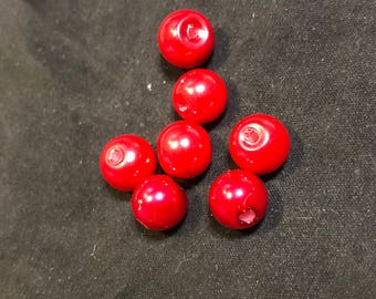 Pearl glass bead 8 mm Red