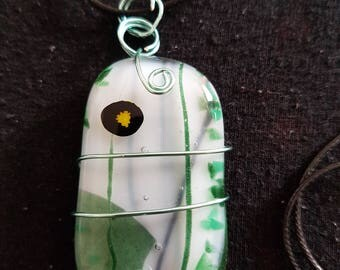 Handmade Glass Necklace: Forest Trails
