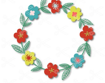 Flower SVG, PNG, DXF, Eps cutting files, Floral svg, Monogram wreath svg, Flower wreath svg, Floral wreath svg, Laurel svg, Monogram svg