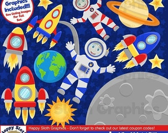 75% OFF OPENING SALE Outer Space clipart set, personal and commercial use vector, Space, Astronaut digital clip art set.