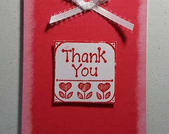 Thank You Card, Handmade Card, Red, White, Embossed