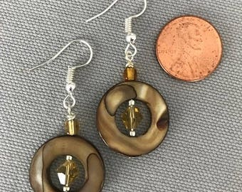 Brown Swirl Circle Earrings