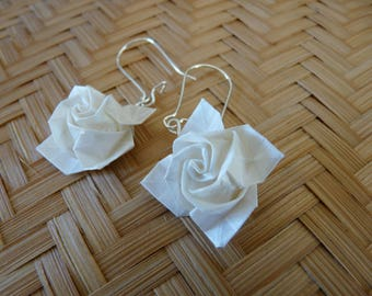 Pink paper origami layer white Ivory Pearl Earrings