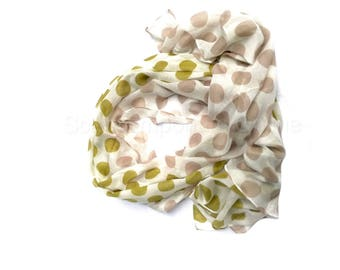 Classic Mustard & Beige  Scarf / Fashion Accessories / Women Scarves / Gifts For Her