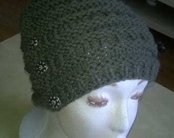 Handknitted Hat costume with buttons