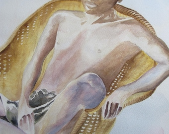 Watercolor of a young African sitting in Chair