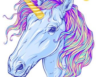 Wall decals sticker decor kids print A3 Unicorn ref 311