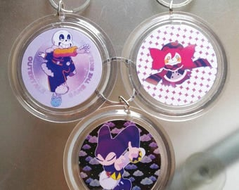 Double-Sided Keychains (Outertale, NiGHTS, Madoka Magica)