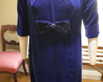 Late 1960's Kayman Royal Blue Velvet Dress with Beaded Bow in Front