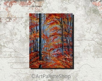 Fall Decor Birch Trees Painting Art Autumn Decorations Tree Painting Birch Tree Art Forest Painting Birch Decor Orange Fall