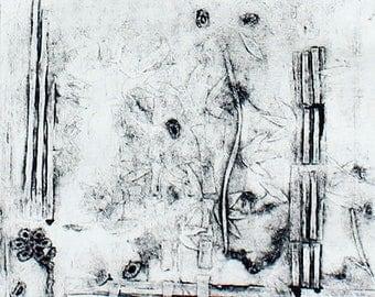 "Handmade Collagraph ""Bamboo"" Art Print"