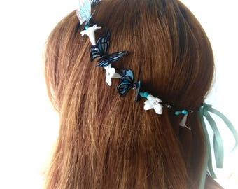White and blue butterfly wreath