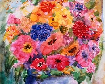 Flower Vase, watercolours, framed