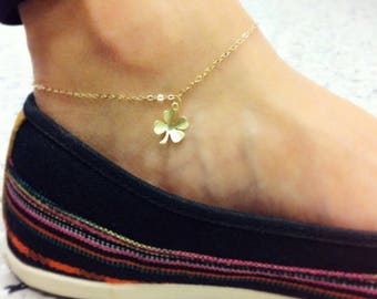 Hand-made Gold Clover Anklet / Gold Anklet Available in 14k Gold, White Gold or Rose Gold