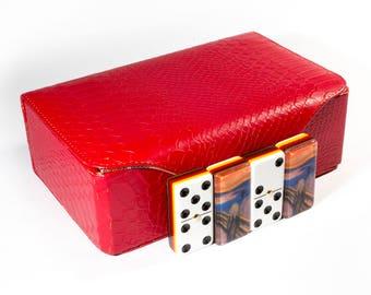 The Scream Edvard Munch Jumbo Domino Double Six, 5 Coats 100% Acrylic. Deluxe Leather Case